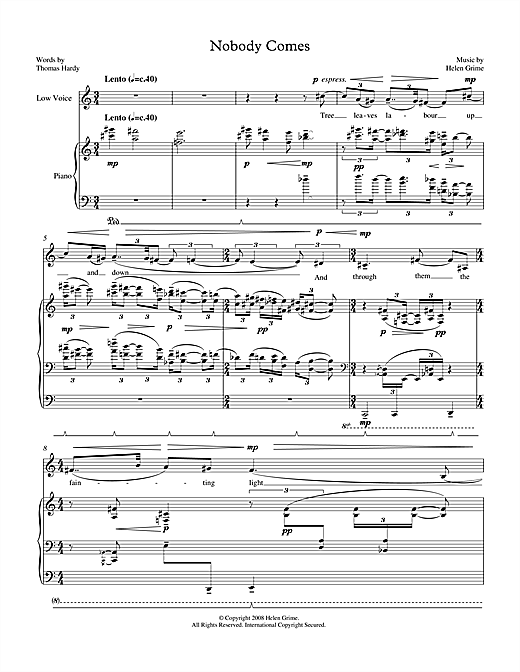 Helen Grime Nobody Comes (for low voice & piano) sheet music notes printable PDF score