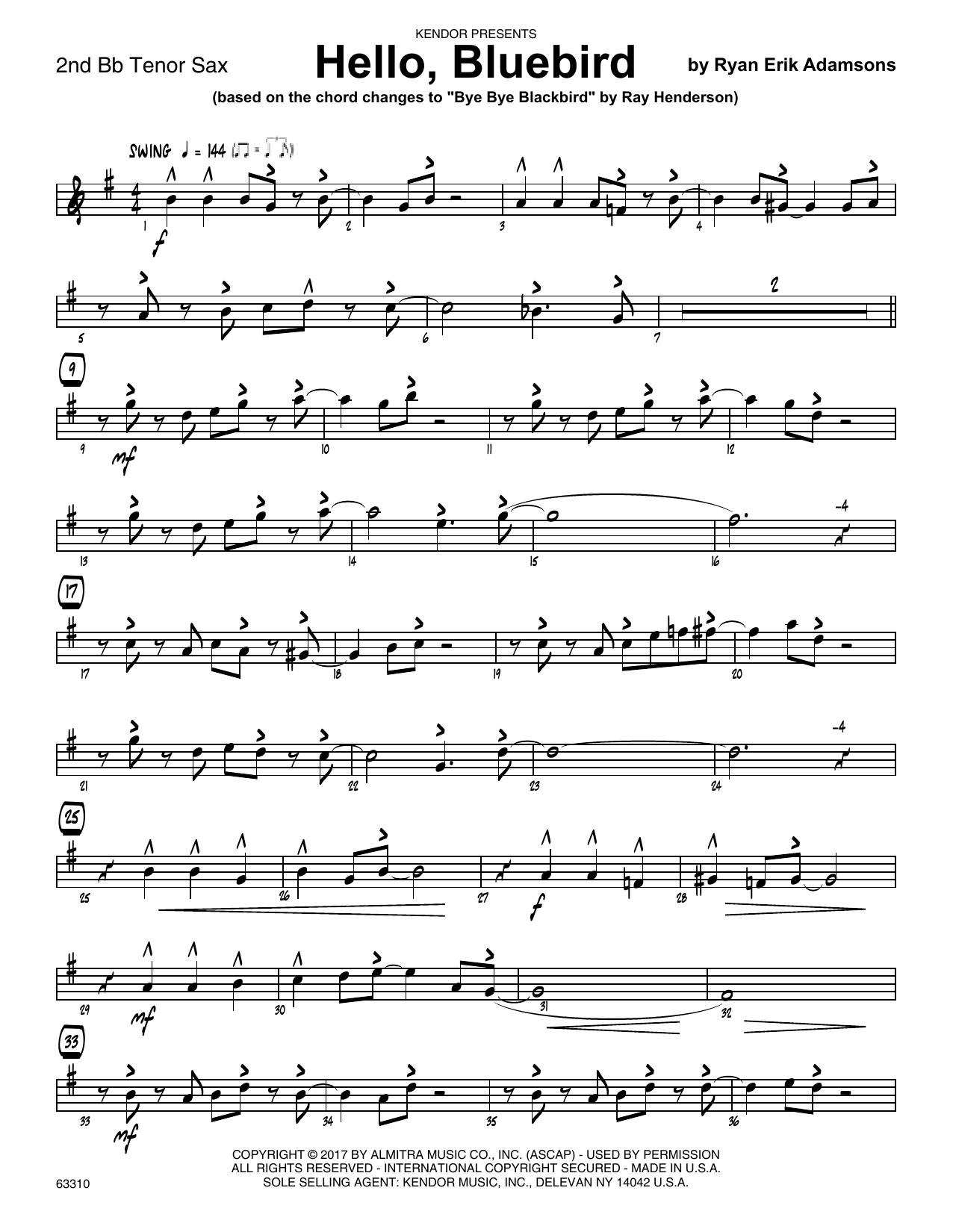 Ryan Erik Adamsons Hello, Bluebird (based on Bye Bye Blackbird) - 2nd Bb Tenor Saxophone sheet music notes printable PDF score
