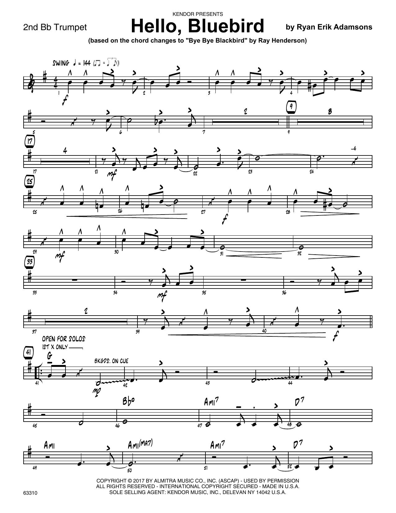 Ryan Erik Adamsons Hello, Bluebird (based on Bye Bye Blackbird) - 2nd Bb Trumpet sheet music notes printable PDF score