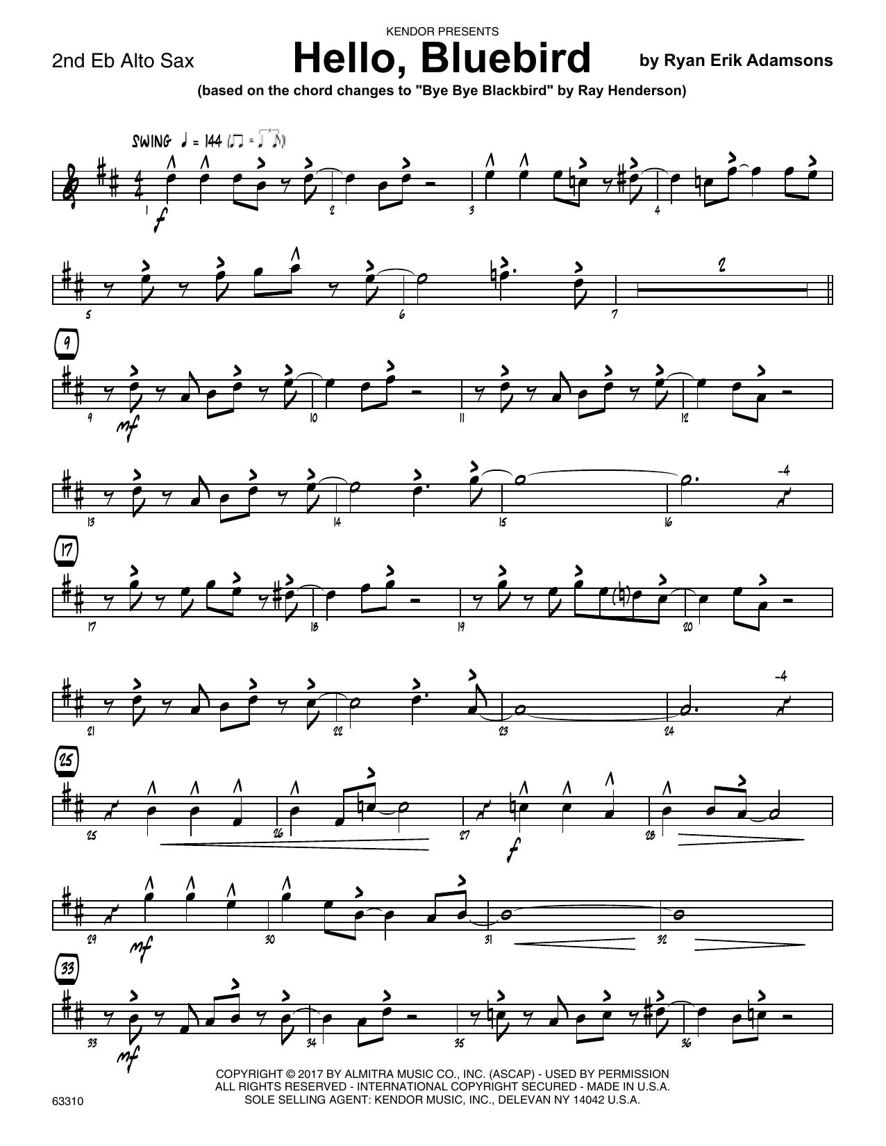 Ryan Erik Adamsons Hello, Bluebird (based on Bye Bye Blackbird) - 2nd Eb Alto Saxophone sheet music notes printable PDF score