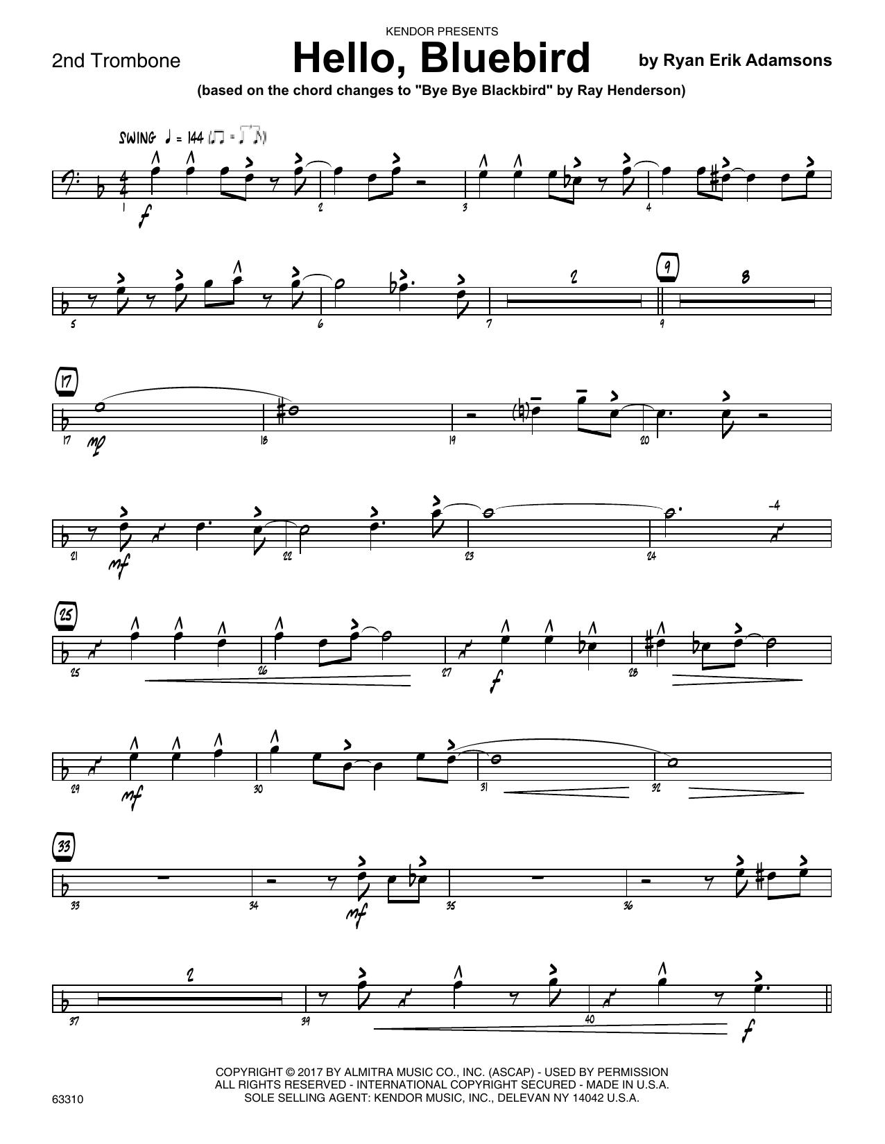 Ryan Erik Adamsons Hello, Bluebird (based on Bye Bye Blackbird) - 2nd Trombone sheet music notes printable PDF score