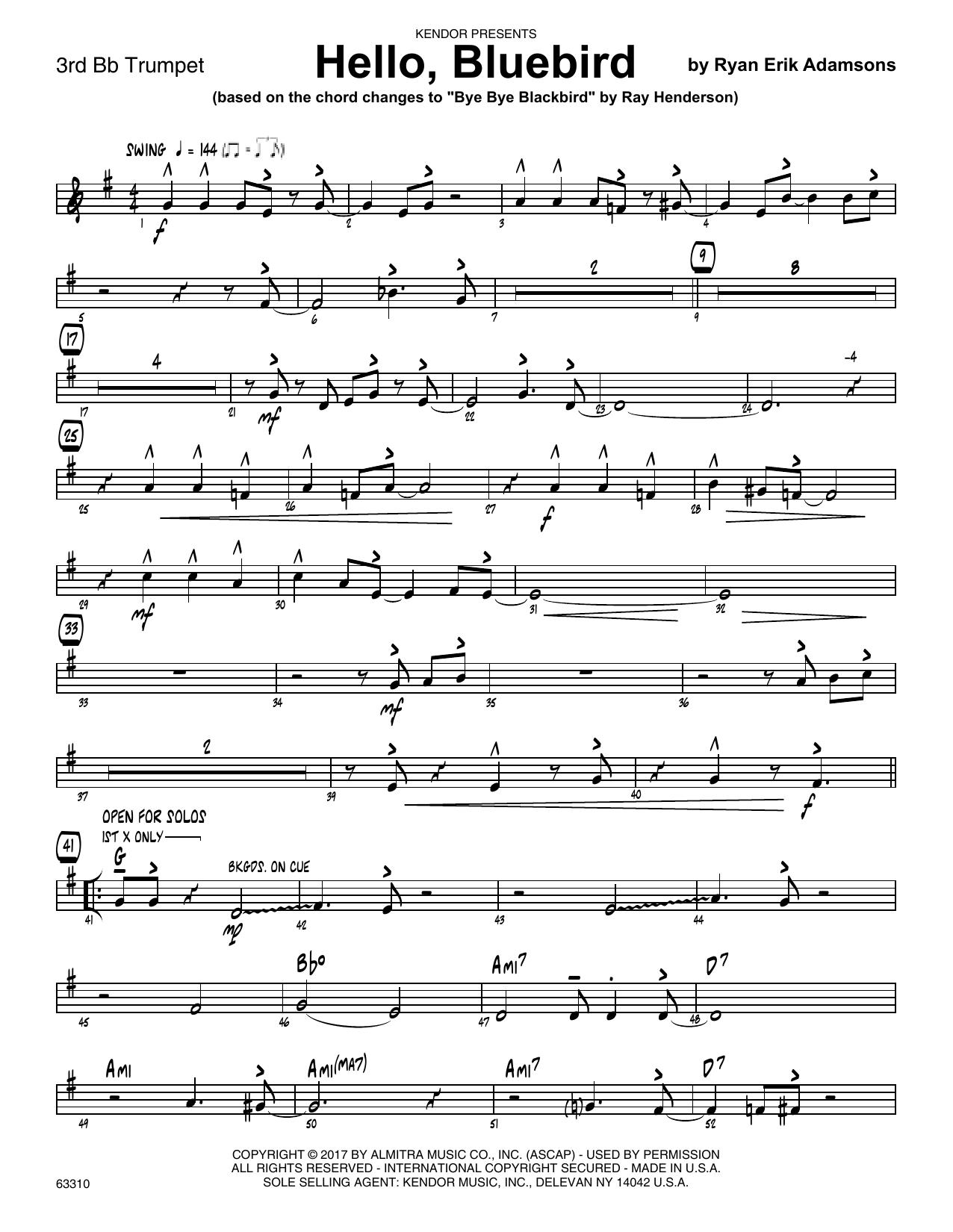 Ryan Erik Adamsons Hello, Bluebird (based on Bye Bye Blackbird) - 3rd Bb Trumpet sheet music notes printable PDF score