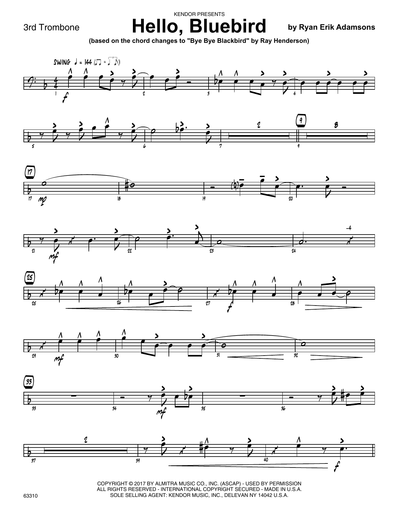 Ryan Erik Adamsons Hello, Bluebird (based on Bye Bye Blackbird) - 3rd Trombone sheet music notes printable PDF score