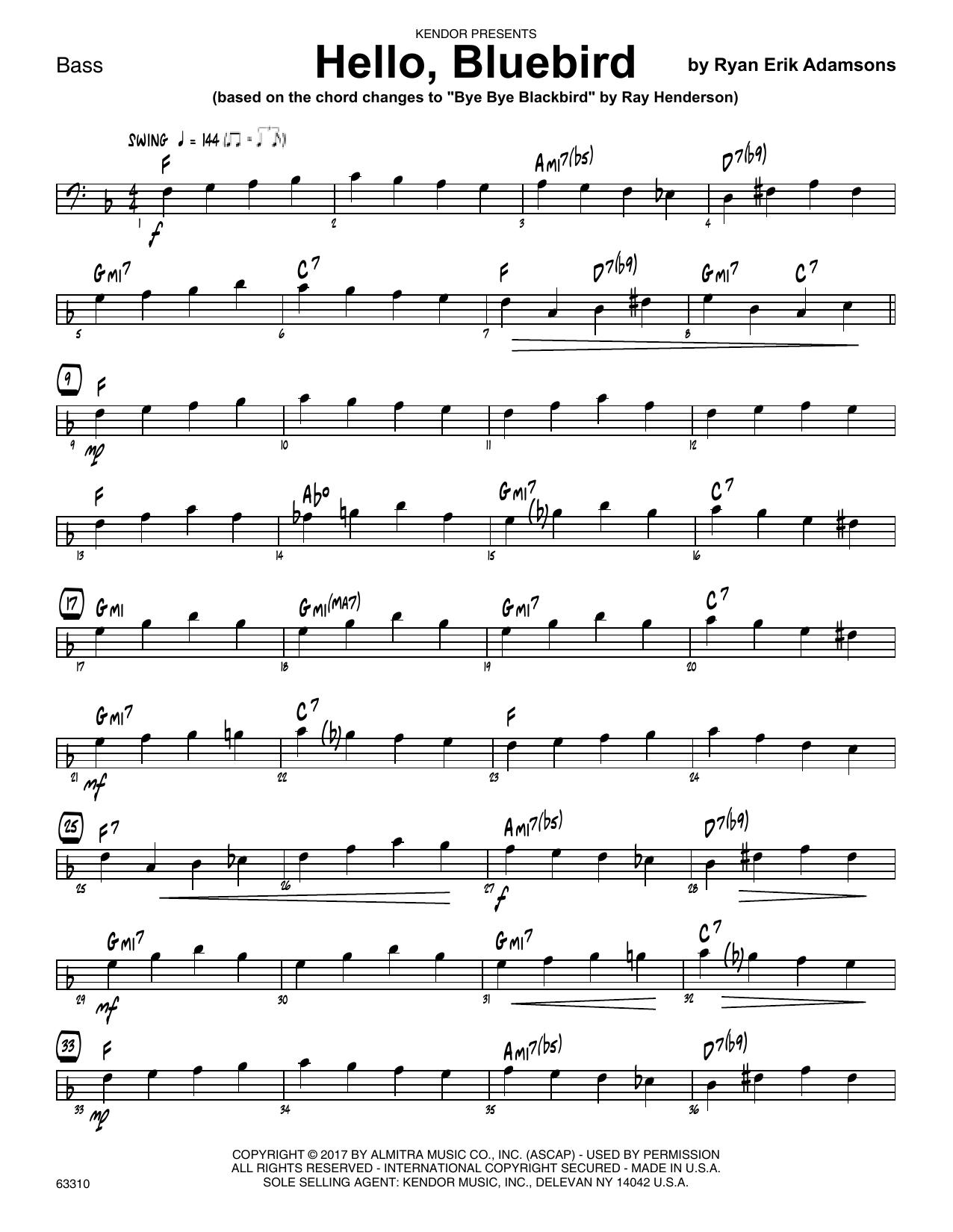 Ryan Erik Adamsons Hello, Bluebird (based on Bye Bye Blackbird) - Bass sheet music notes printable PDF score