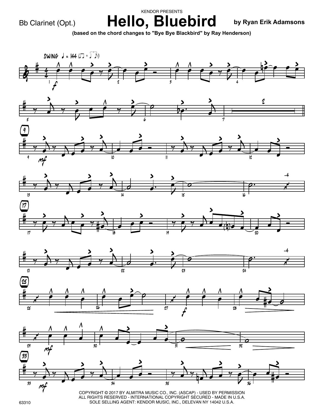 Ryan Erik Adamsons Hello, Bluebird (based on Bye Bye Blackbird) - Bb Clarinet sheet music notes printable PDF score
