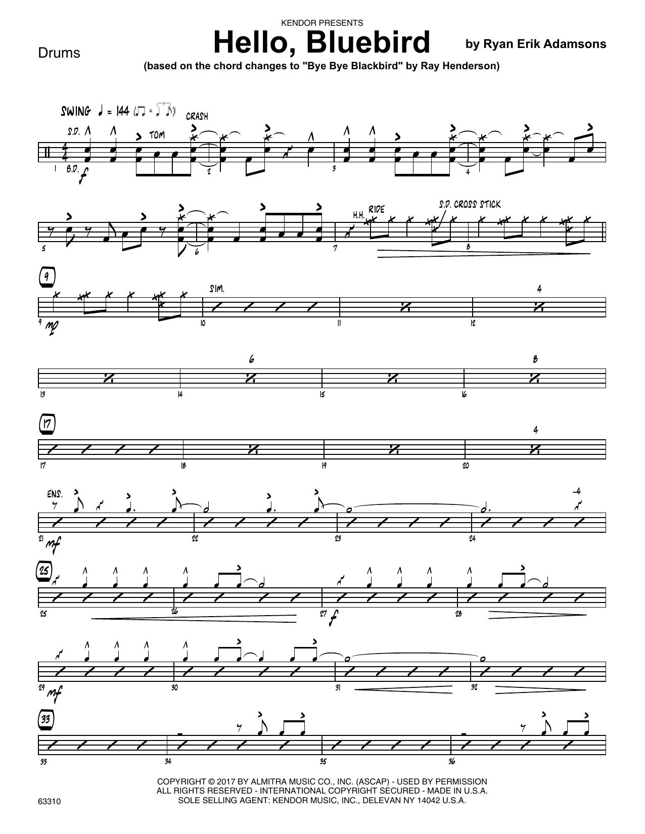Ryan Erik Adamsons Hello, Bluebird (based on Bye Bye Blackbird) - Drum Set sheet music notes printable PDF score
