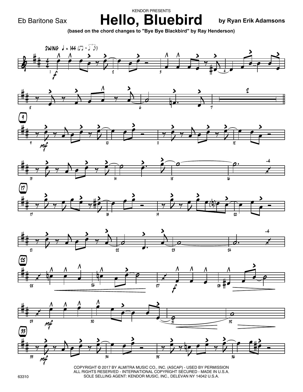 Ryan Erik Adamsons Hello, Bluebird (based on Bye Bye Blackbird) - Eb Baritone Saxophone sheet music notes printable PDF score