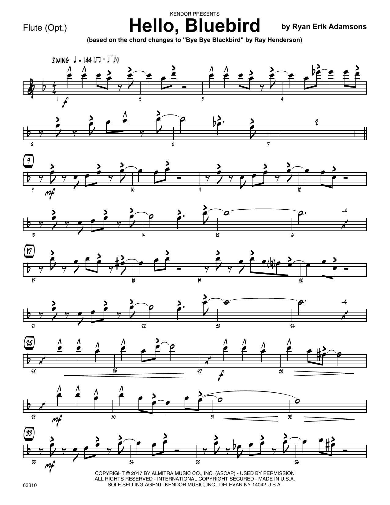 Ryan Erik Adamsons Hello, Bluebird (based on Bye Bye Blackbird) - Flute sheet music notes printable PDF score