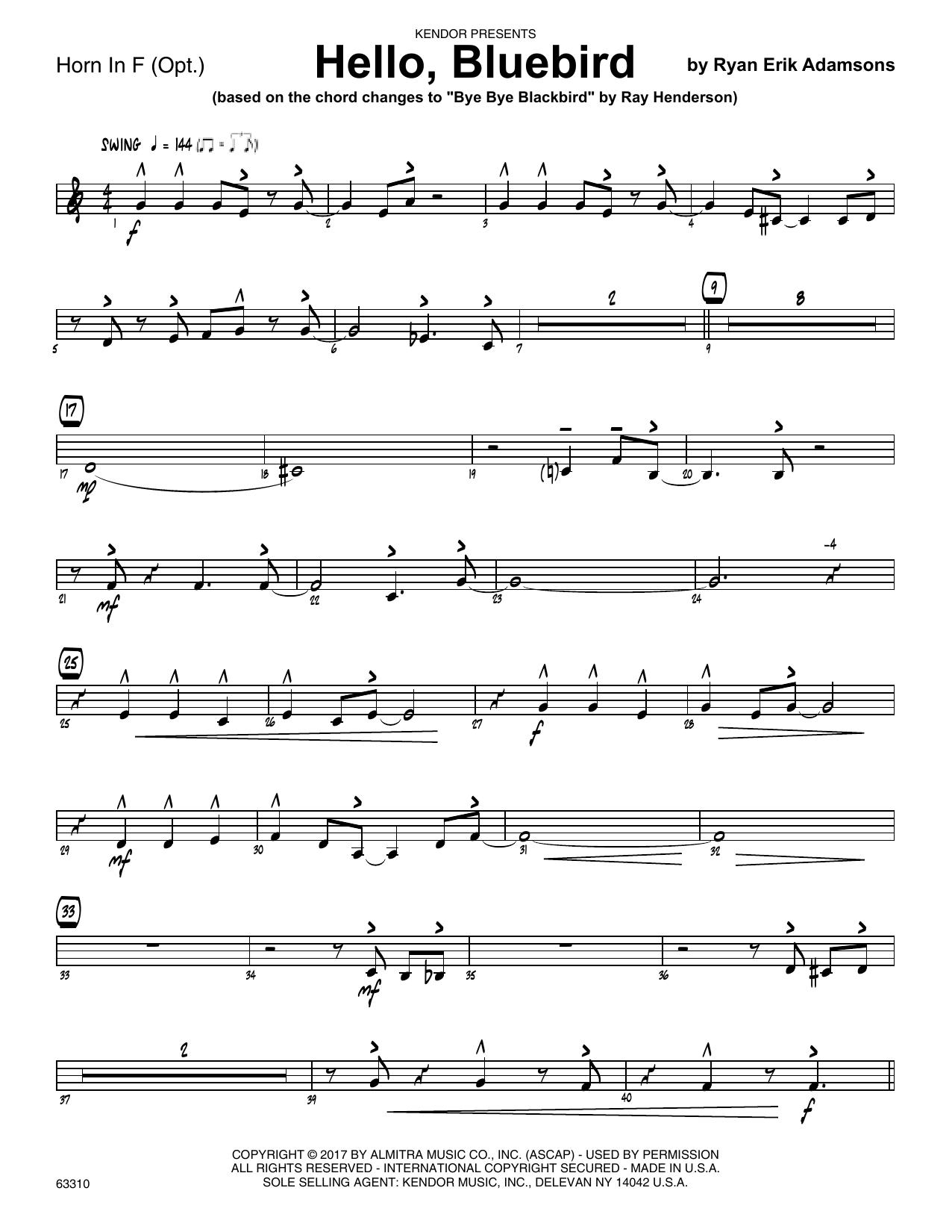 Ryan Erik Adamsons Hello, Bluebird (based on Bye Bye Blackbird) - Horn in F sheet music notes printable PDF score