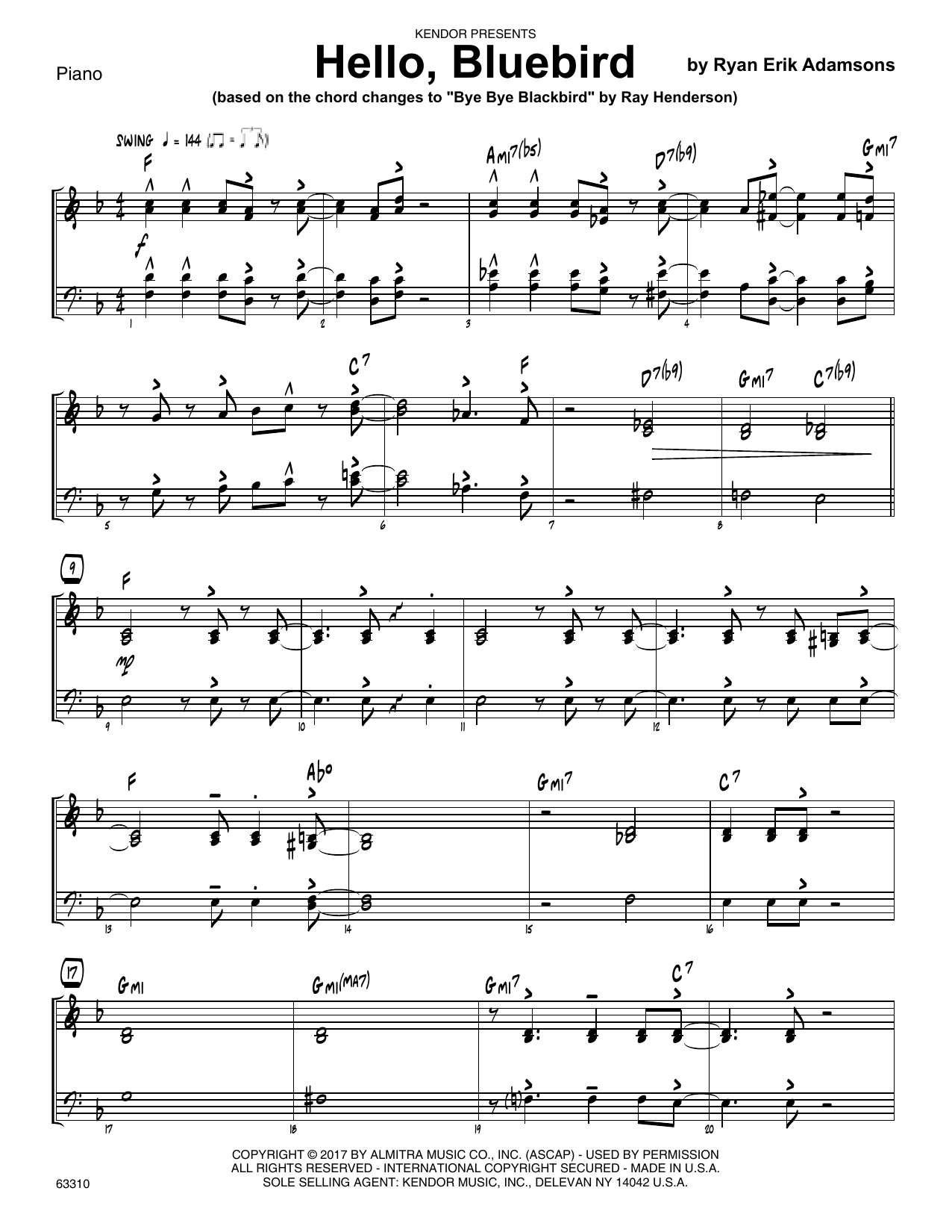Ryan Erik Adamsons Hello, Bluebird (based on Bye Bye Blackbird) - Piano sheet music notes printable PDF score
