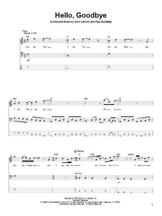The Beatles Hello, Goodbye sheet music notes printable PDF score