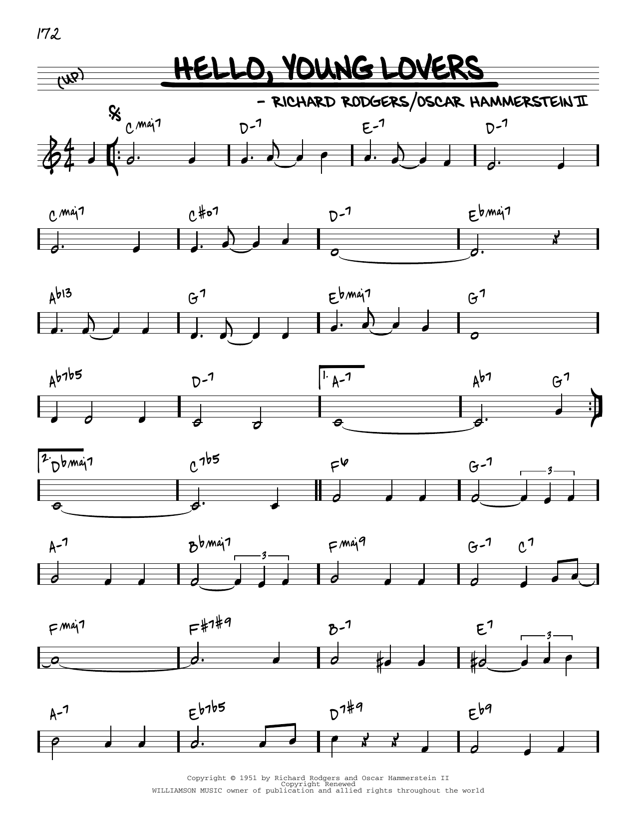 Rodgers & Hammerstein Hello, Young Lovers [Reharmonized version] (from The King And I) (arr. Jack Grassel) sheet music notes printable PDF score