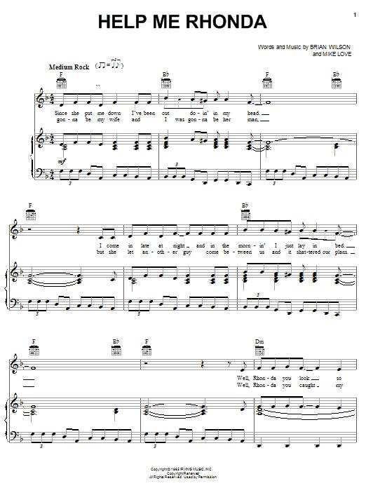 The Beach Boys Help Me Rhonda sheet music notes printable PDF score