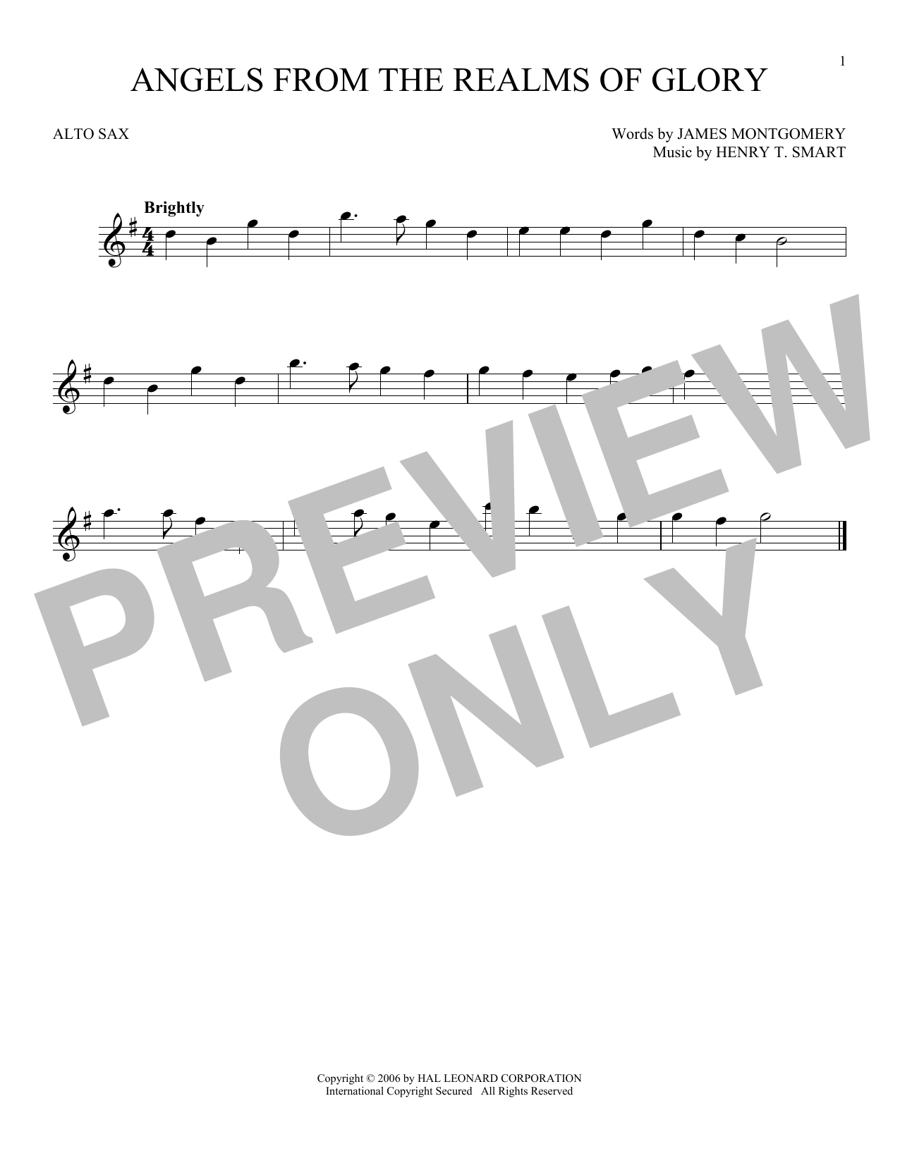 Henry T. Smart Angels From The Realms Of Glory sheet music notes and chords. Download Printable PDF.