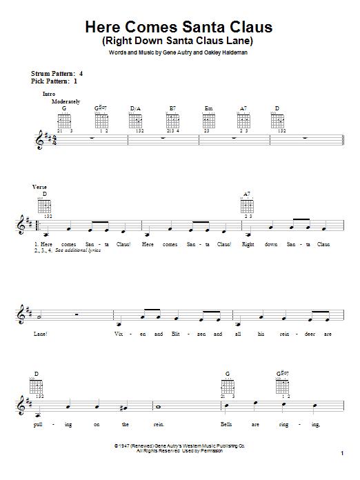 Gene Autry Here Comes Santa Claus (Right Down Santa Claus Lane) sheet music notes printable PDF score