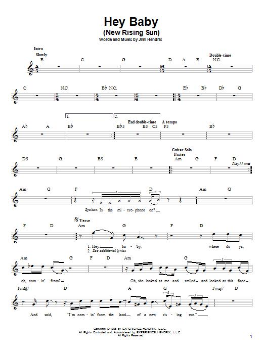 Jimi Hendrix Hey Baby (New Rising Sun) sheet music notes printable PDF score