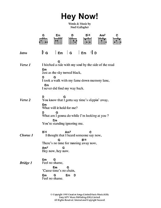 Oasis Hey Now sheet music notes printable PDF score