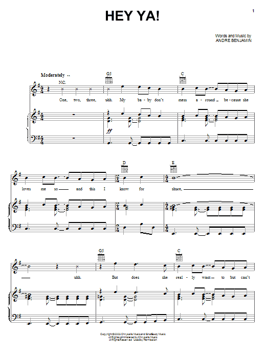 OutKast Hey Ya! sheet music notes printable PDF score
