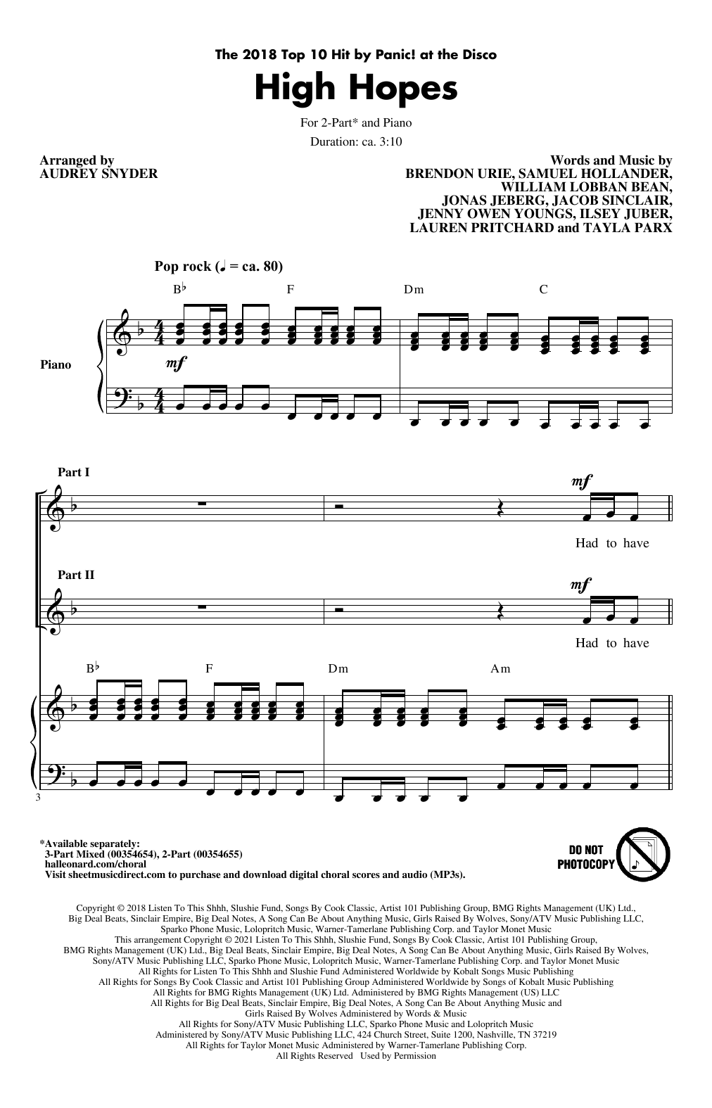 Panic! At The Disco High Hopes (arr. Audrey Snyder) sheet music notes printable PDF score