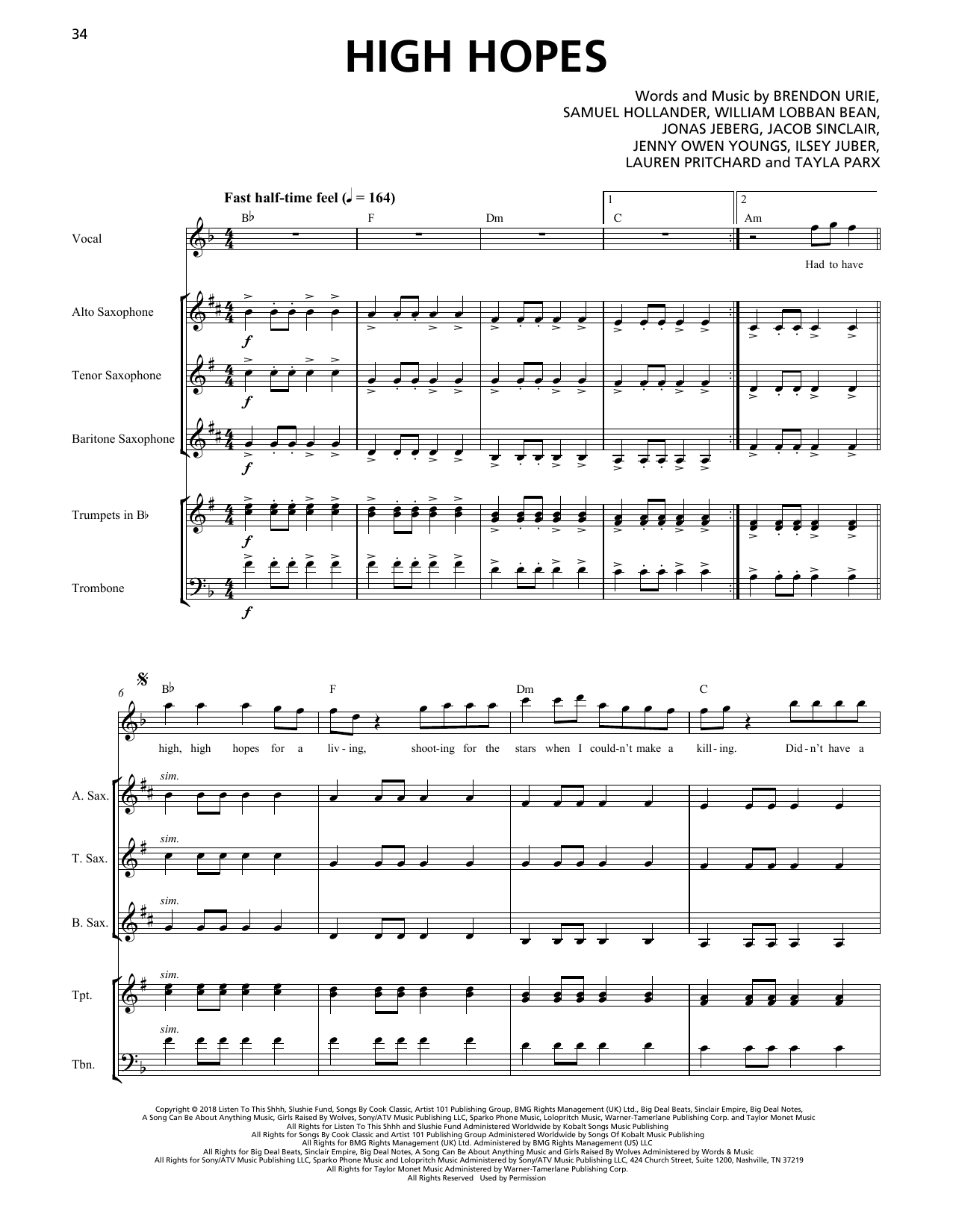 Panic! At The Disco High Hopes (Horn Section) sheet music notes printable PDF score