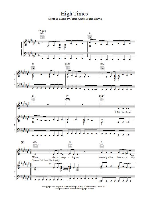 Del Amitri High Times sheet music notes printable PDF score