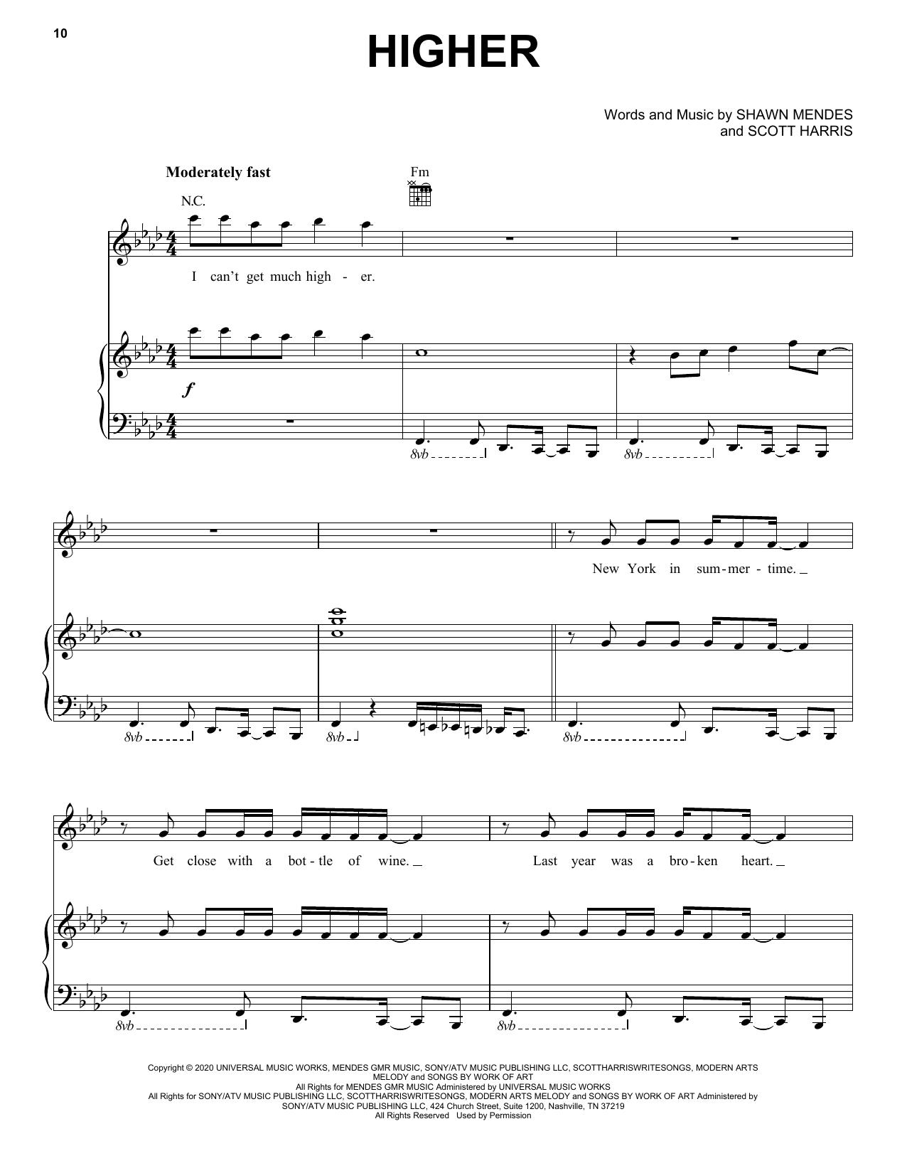 Shawn Mendes Higher sheet music notes printable PDF score