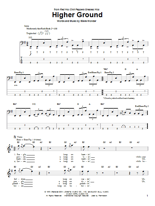 Red Hot Chili Peppers Higher Ground sheet music notes printable PDF score