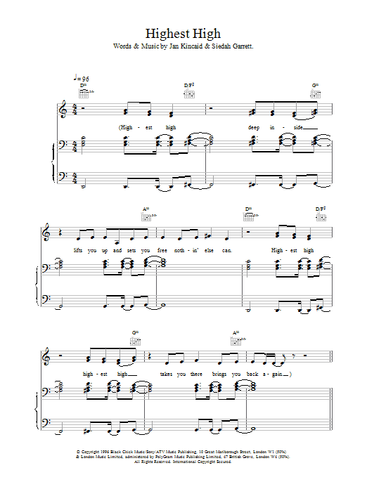 The Brand New Heavies Highest High sheet music notes printable PDF score