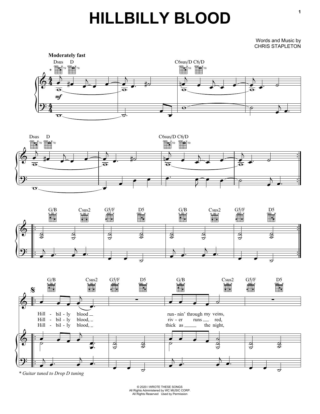 Chris Stapleton Hillbilly Blood sheet music notes printable PDF score