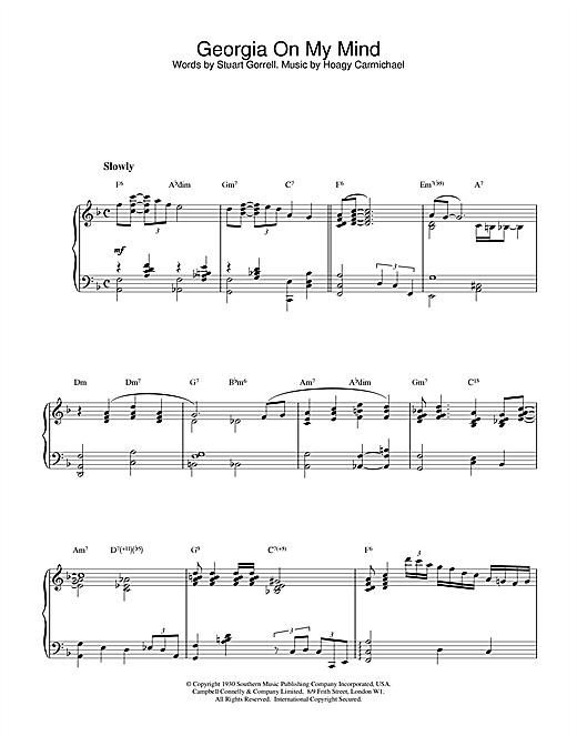 Hoagy Carmichael Georgia On My Mind sheet music notes printable PDF score