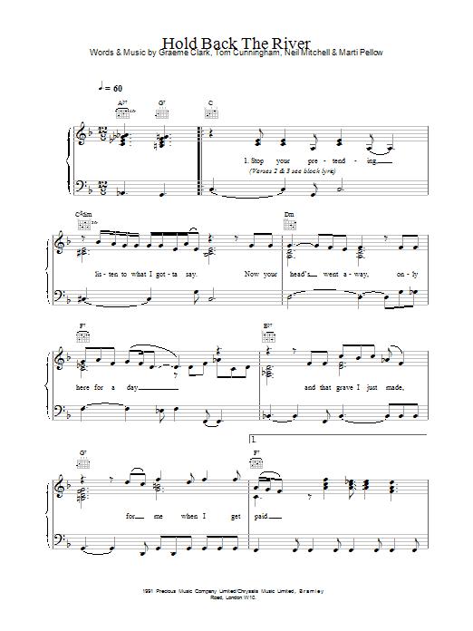 Wet Wet Wet Hold Back The River sheet music notes printable PDF score