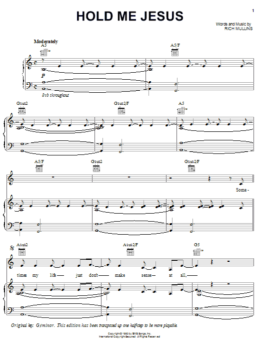 Rich Mullins Hold Me Jesus sheet music notes printable PDF score