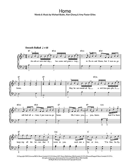 Westlife Home sheet music notes printable PDF score