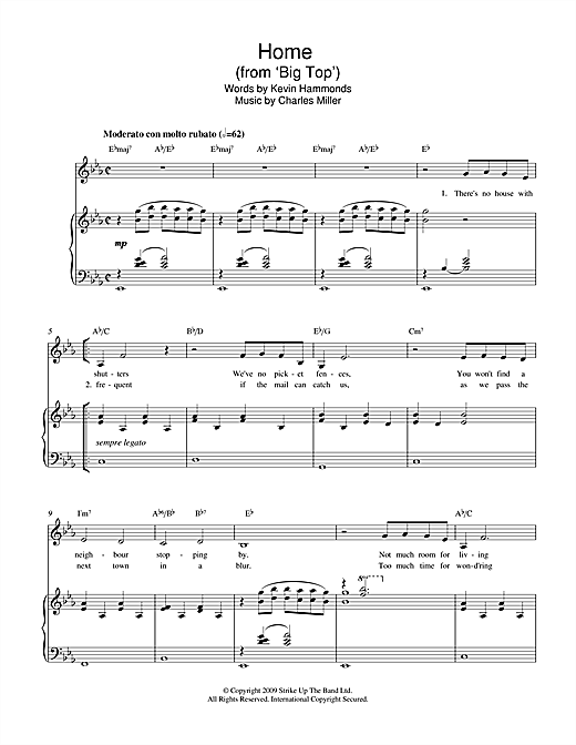 Charles Miller & Kevin Hammonds Home (from Big Top) sheet music notes printable PDF score