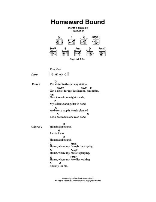 Simon & Garfunkel Homeward Bound sheet music notes printable PDF score