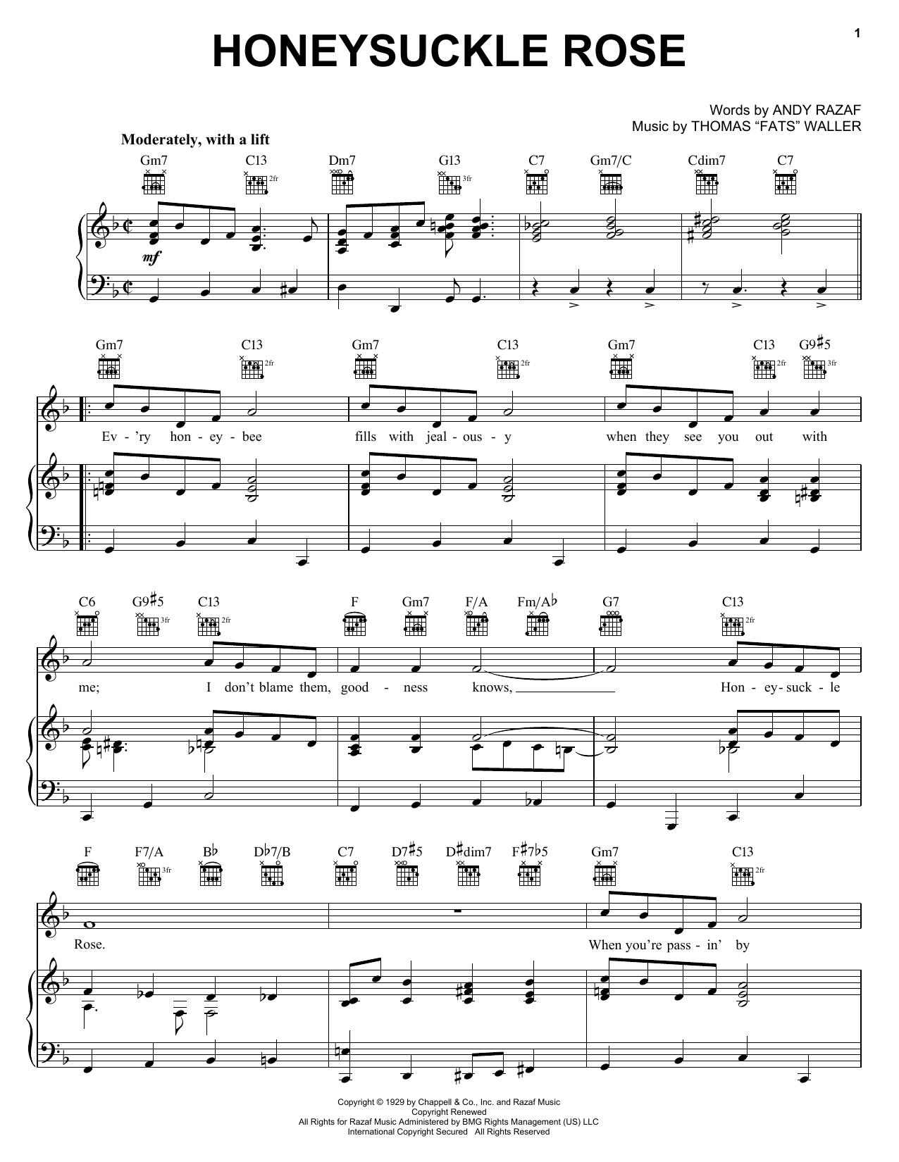 Django Reinhardt Honeysuckle Rose sheet music notes printable PDF score