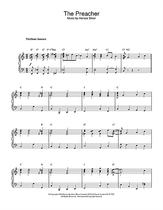 Horace Silver The Preacher sheet music notes printable PDF score