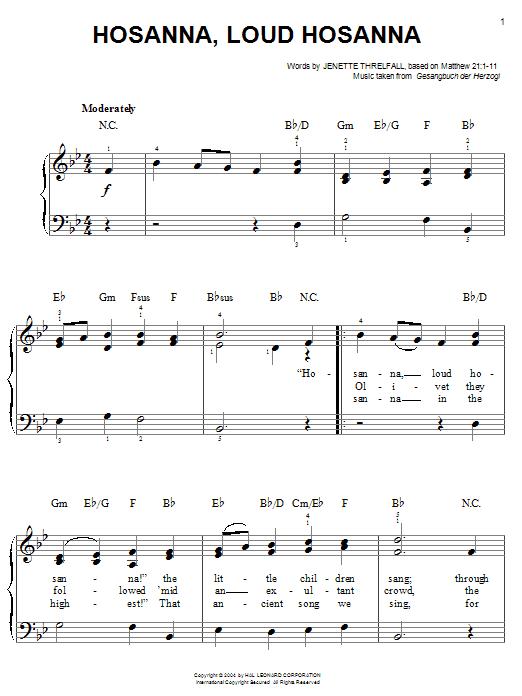 Jennette Threlfall Hosanna, Loud Hosanna sheet music notes printable PDF score