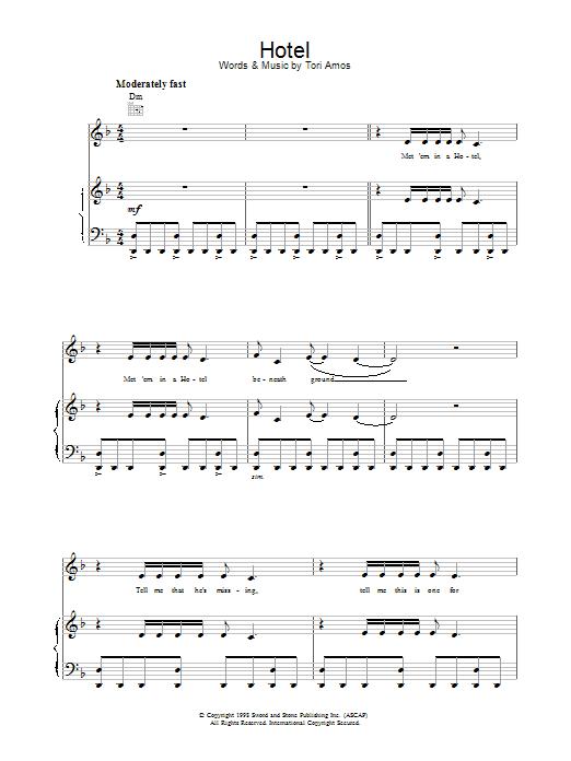 Tori Amos Hotel sheet music notes printable PDF score