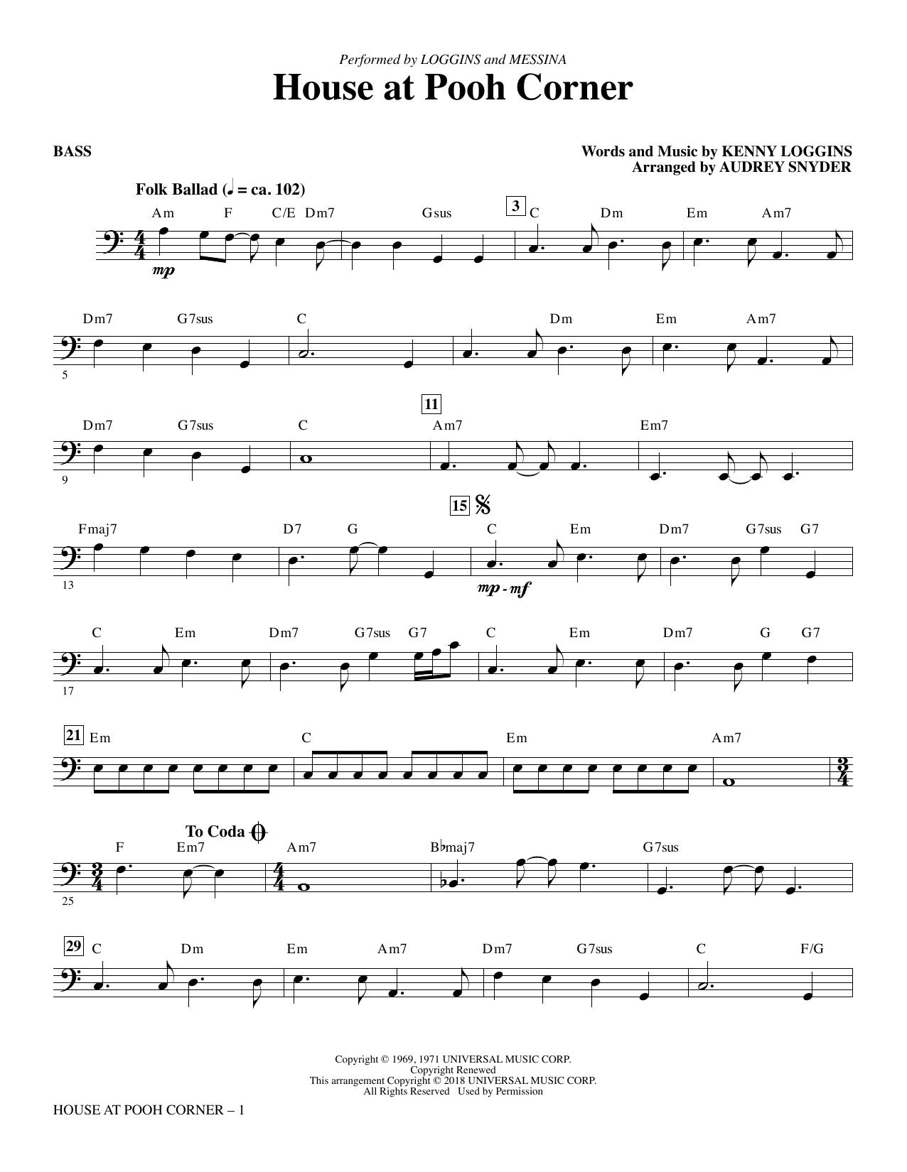 Audrey Snyder House at Pooh Corner - Bass sheet music notes printable PDF score