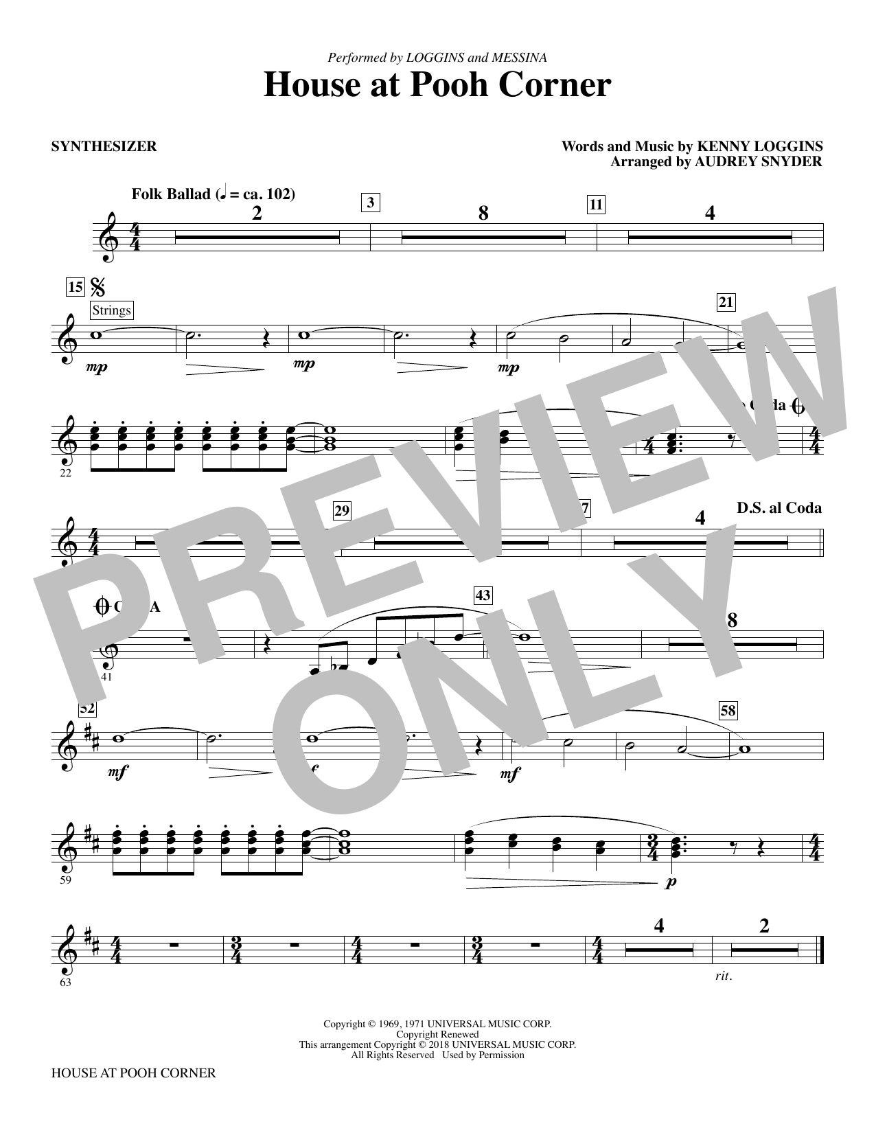 Audrey Snyder House at Pooh Corner - Synthesizer sheet music notes printable PDF score