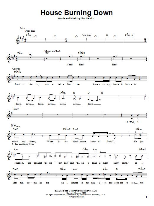 Jimi Hendrix House Burning Down sheet music notes printable PDF score