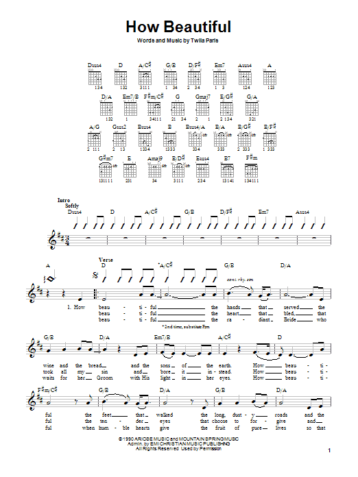Twila Paris How Beautiful sheet music notes printable PDF score
