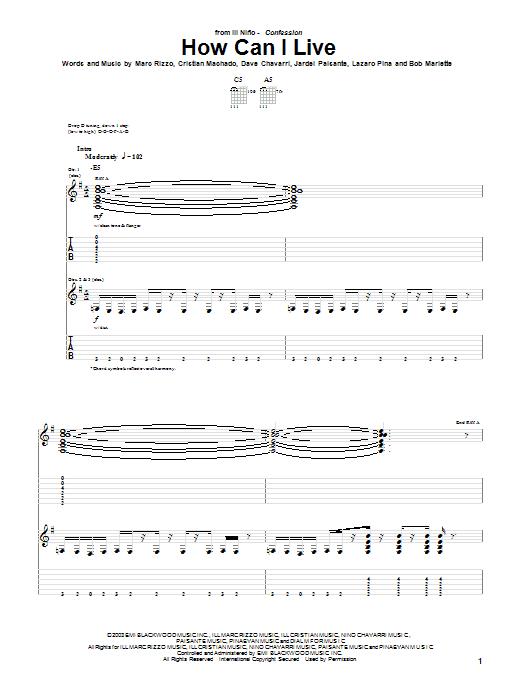 Ill Nino How Can I Live sheet music notes printable PDF score
