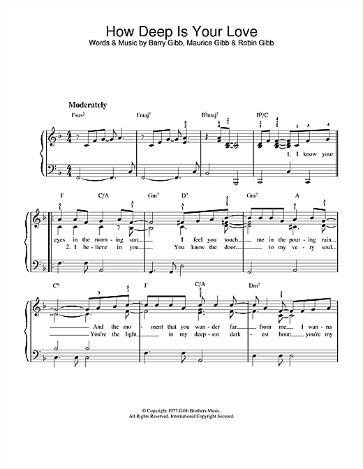 Bee Gees How Deep Is Your Love sheet music notes printable PDF score