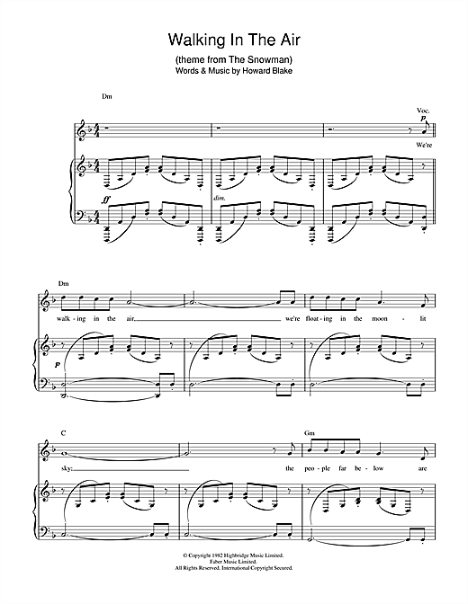 Howard Blake Walking In The Air (theme from The Snowman) sheet music notes and chords. Download Printable PDF.