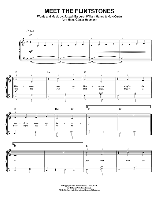 Hoyt Curtin (Meet The) Flintstones sheet music notes printable PDF score