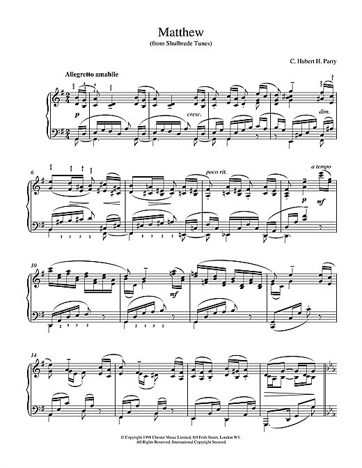 Hubert Parry Matthew From Shulbrede Tunes sheet music notes printable PDF score
