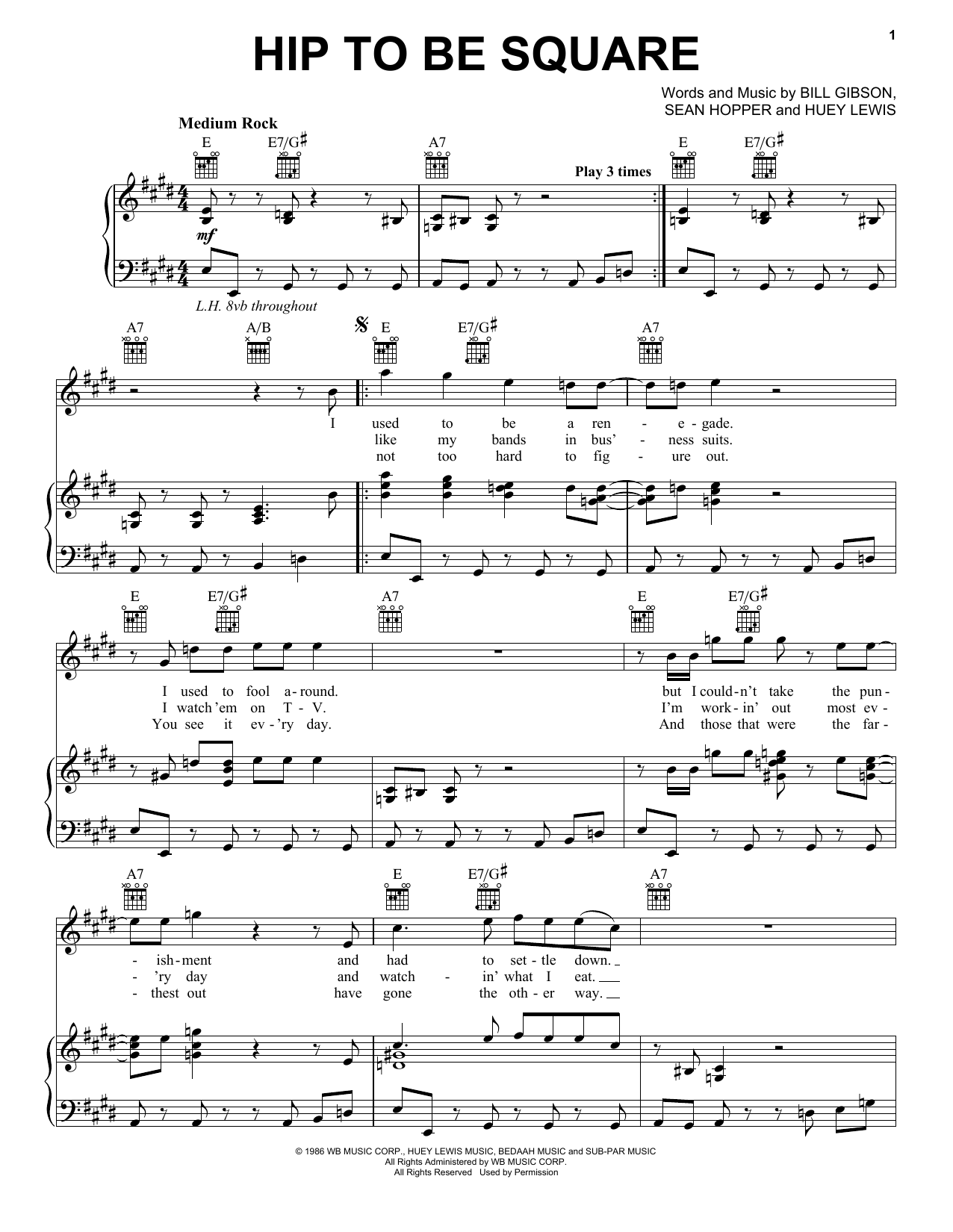 Huey Lewis & The News Hip To Be Square sheet music notes and chords. Download Printable PDF.