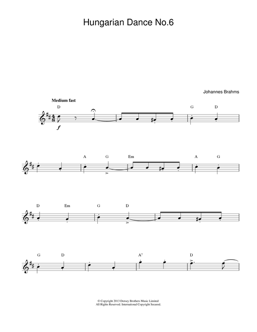 Johannes Brahms Hungarian Dance No.6 sheet music notes printable PDF score